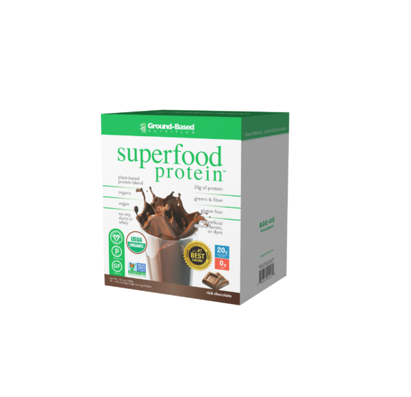 ground based nutrition superfood protein chocolate carton