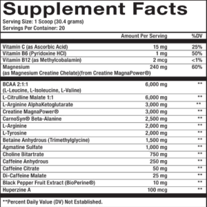 maxq nutrition PRE WORKOUT supplement facts