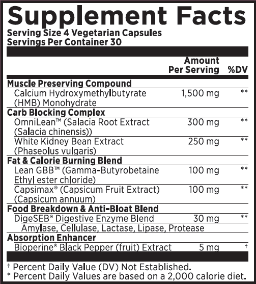 capsilean supplement panel nutritional information